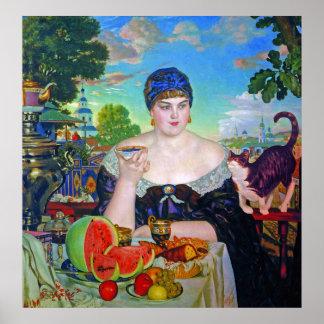 Print:  Merchant's Wife by Boris Kustodiev