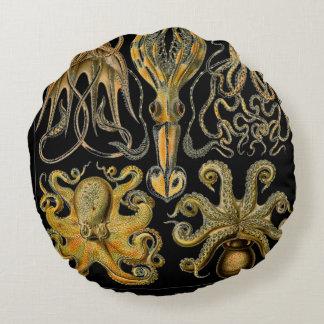 Print Octopus & Squid Art Round Cushion