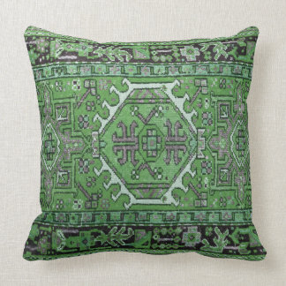 Print of Antique Oriental Carpet in Olive Green Throw Pillow