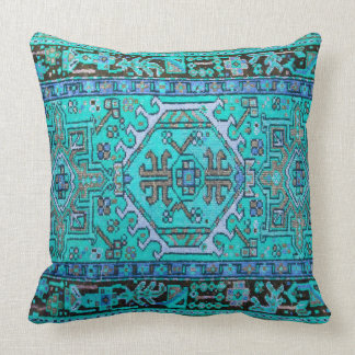 Print of Antique Oriental Carpet in Stunning Blues Cushion