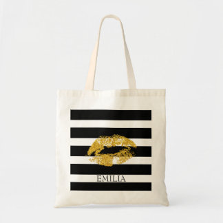 Print Of Gold Lips And Stripes Tote Bag