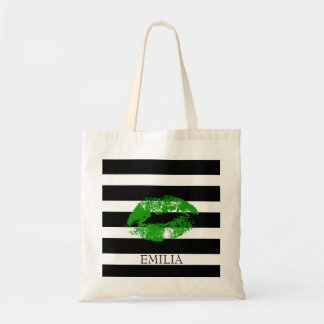 Print Of Green Lips And Stripes Tote Bag