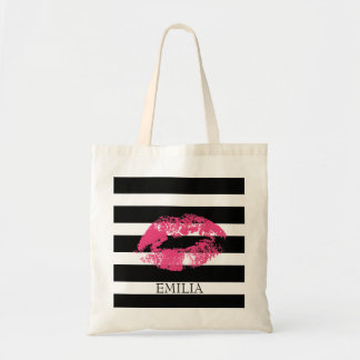 Print Of Red Lips And Stripes Tote Bag
