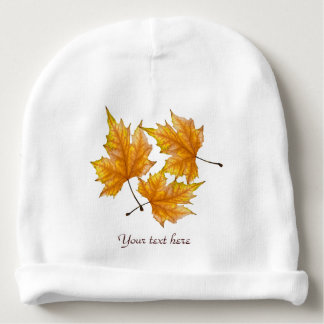 Print of Yellow and Gold Maple Leaves Baby Beanie