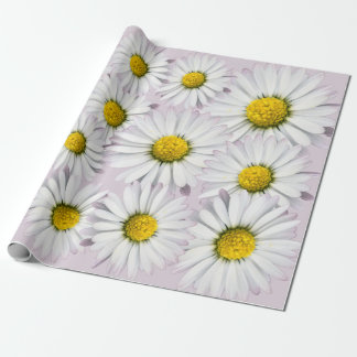 Print of yellow and white daisies wrapping paper