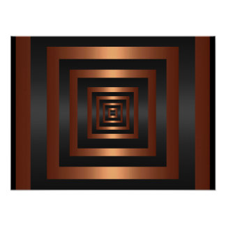 Print Rectangle Vision Black & Copper Posters
