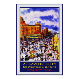 Print Retro Vintage Image Travel Atlantic City