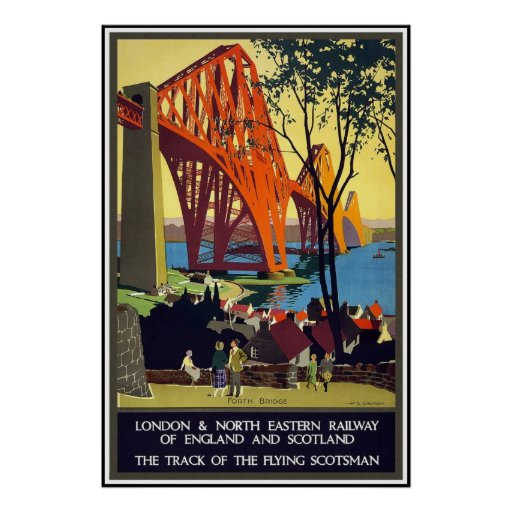 Print Retro Vintage Image Travel England Scotland
