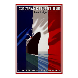 Print Retro Vintage Image Travel French Line Ship