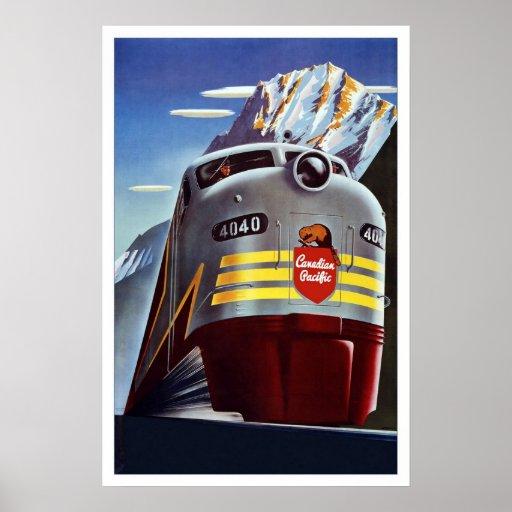 Print Retro Vintage Image Travel Train Canada Print