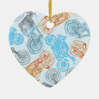 print with bikes ceramic heart decoration