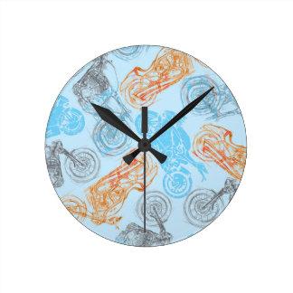 print with bikes wall clock