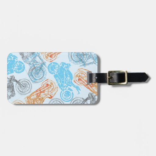 print with bikes luggage tags