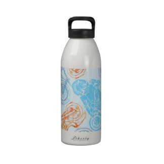 print with bikes reusable water bottle