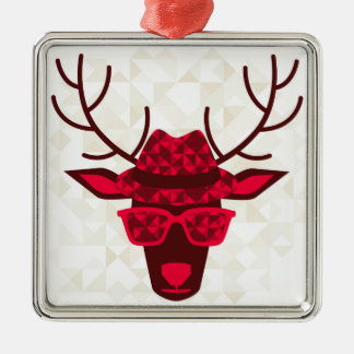 Print With Deer In Hipster Style Christmas Ornament