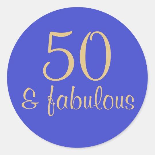 "Printed ""50 & Fabulous"" 50th Birthday Sticker"