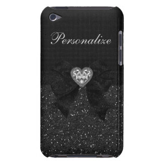 Printed Black Glitter, Diamond Heart & Bow iPod Touch Cases