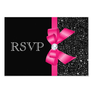 Printed Black Sequins and Hot Pink Bow RSVP 9 Cm X 13 Cm Invitation Card