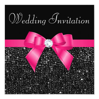 Printed Black Sequins and Hot Pink Bow Wedding Card