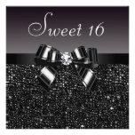 Printed Black Sequins, Bow & Diamond Sweet 16