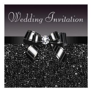 Printed Black Sequins, Bow & Diamond Wedding Custom Invitation