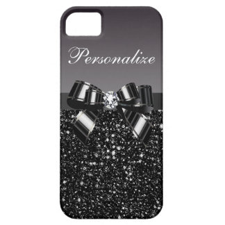 Printed Black & White Sequins, Bow & Diamond iPhone 5 Cover