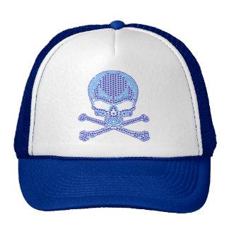 Printed Blue Rhinestone Skull & Crossbones Cap