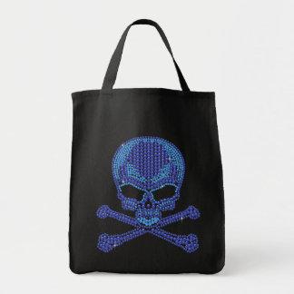 Printed Blue Rhinestone Skull & Crossbones Grocery Tote Bag