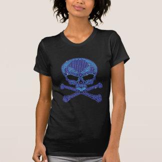 Printed Blue Rhinestone Skull Crossbones Shirts