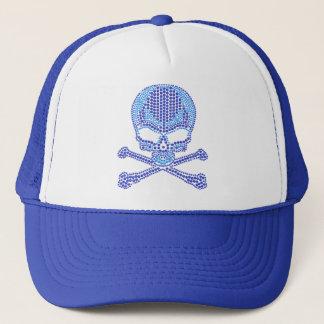 Printed Blue Rhinestone Skull & Crossbones Trucker Hat