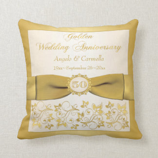 PRINTED BOW 50th Anniversary Double PHOTO Pillow Cushions