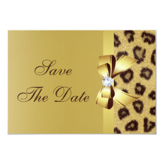 Printed Bow, Diamond & Leopard Print Save the Date 9 Cm X 13 Cm Invitation Card