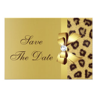 Printed Bow Diamond Leopard Print Save the Date Personalized Announcements
