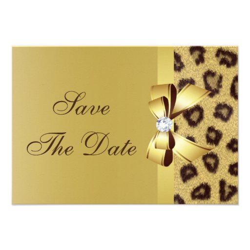 Printed Bow, Diamond & Leopard Print Save the Date Personalized Announcements