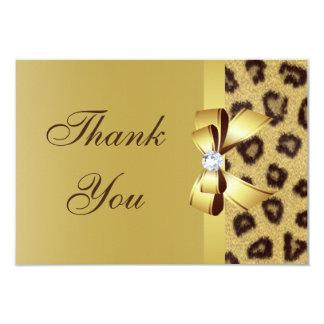 Printed Bow, Diamond & Leopard Print Thank You 9 Cm X 13 Cm Invitation Card