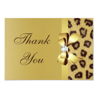 Printed Bow, Diamond & Leopard Print Thank You Card