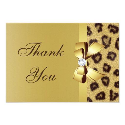 Printed Bow, Diamond & Leopard Print Thank You Custom Announcements