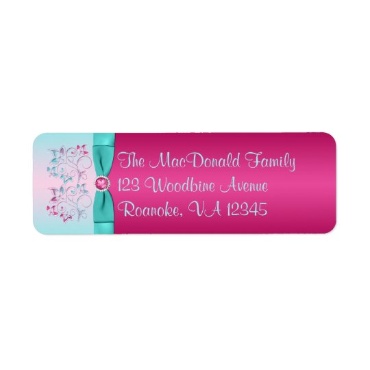 PRINTED BOW Pink, Aqua Floral Return Address Label