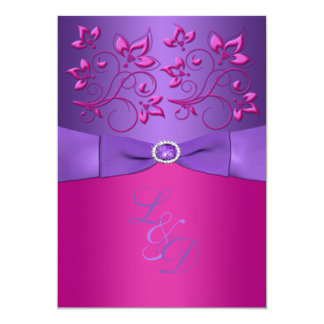 PRINTED BOW Purple Fuchsia Floral Monogram Invite