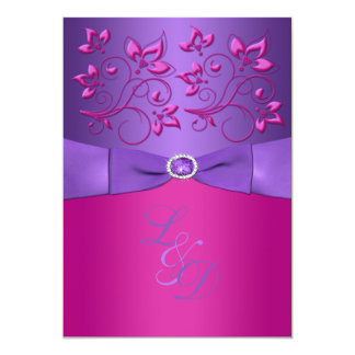 PRINTED BOW Purple Fuchsia Floral Monogram Invite