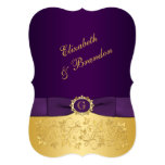 PRINTED BOW Purple, Gold Floral Wedding Invite 3