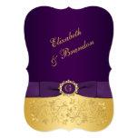 PRINTED BOW Purple, Gold Floral Wedding Invite 3 13 Cm X 18 Cm Invitation Card