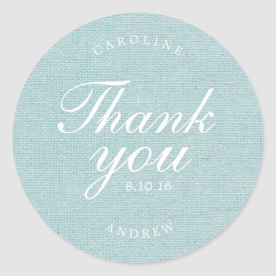 Printed Burlap Wedding Thank You Classic Round Sticker