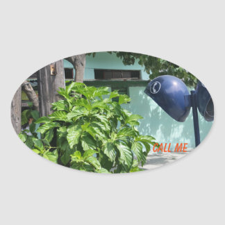 "Printed ""Call Me Retro Mid-Century Payphone (Cuba) Oval Sticker"