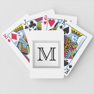 Printed Custom Monogram. Black and White. Bicycle Playing Cards