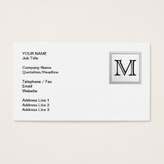 Printed Custom Monogram. Black and White. Business Card