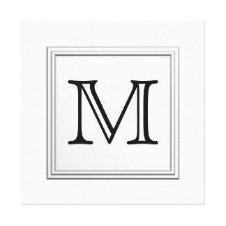 Printed Custom Monogram. Black and White. Canvas Print