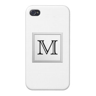 Printed Custom Monogram. Black and White. iPhone 4/4S Cover