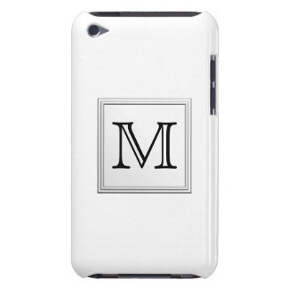 Printed Custom Monogram. Black and White. iPod Touch Case