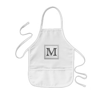 Printed Custom Monogram. Black and White. Kids Apron